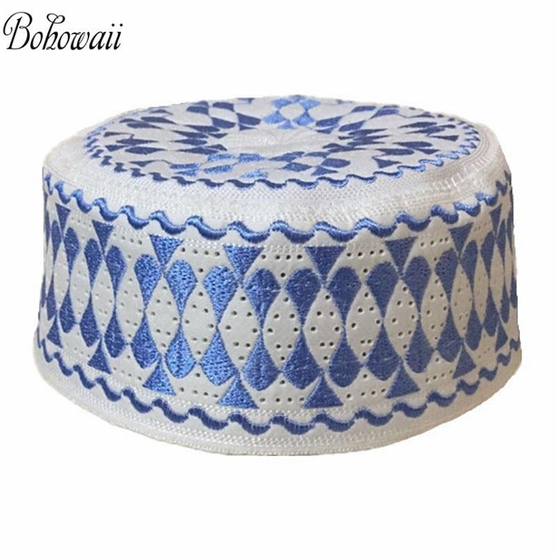 BOHOWAII High Quality Muslim Prayer Hat For Men Islamic Prayer Caps White Embroidery Knit Sombrero Hijab