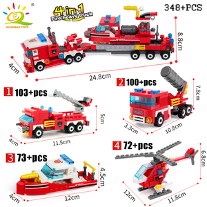 Image 3 - HUIQIBAO 348pcs Fire Fighting 4in1 Trucks Car Helicopter Boat Building Blocks City Firefighter Figures Man Bricks Children Toys