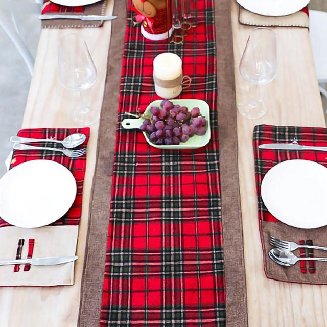 Burlap & Cotton Christmas Table Runner Red Black Plaid Tablecloth Home Party Dining Table Coffee Table Decoration Tablecloth 6