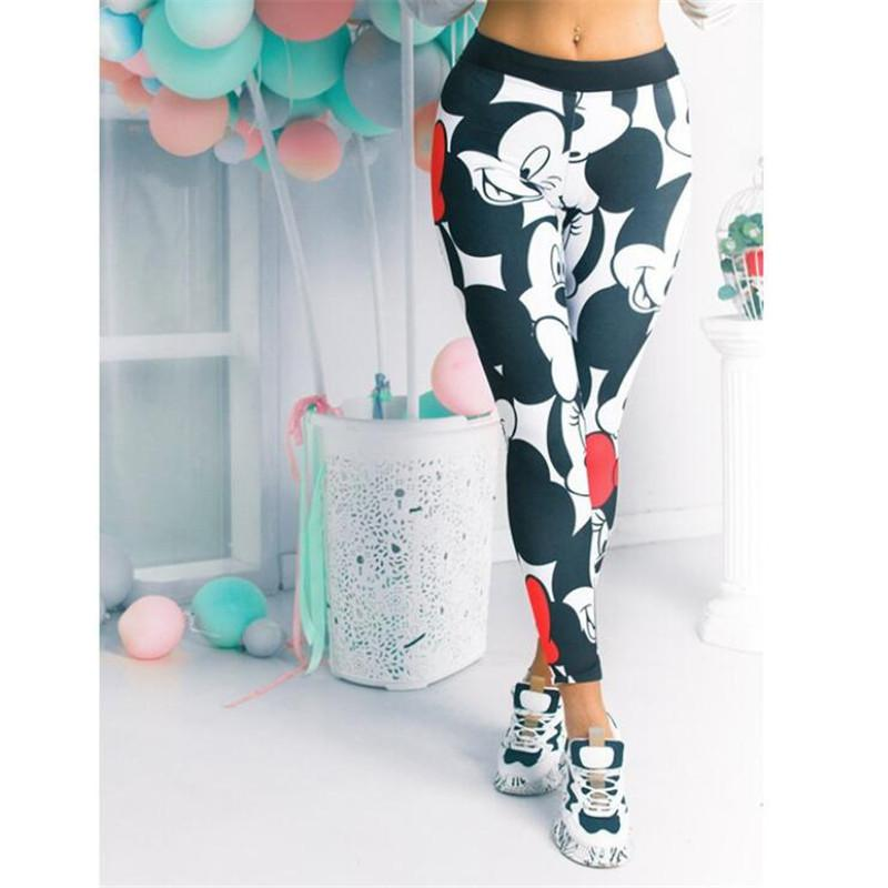 Cartoon Mickey Printed   Leggings   Women Stretchy Fitness Sweatpants Gym Pants Female Sexy High Waist Push Up   Leggings   Plus Size