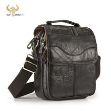 Quality Original Leather Male Casual Shoulder Messenger bag Cowhide Fashion Cross-body Bag 8″ Pad Tote Mochila Satchel bag 144