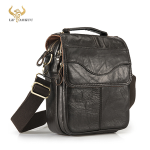 "Image 1 - Quality Original Leather Male Casual Shoulder Messenger bag Cowhide Fashion Cross body Bag 8"" Pad Tote Mochila Satchel bag 144"