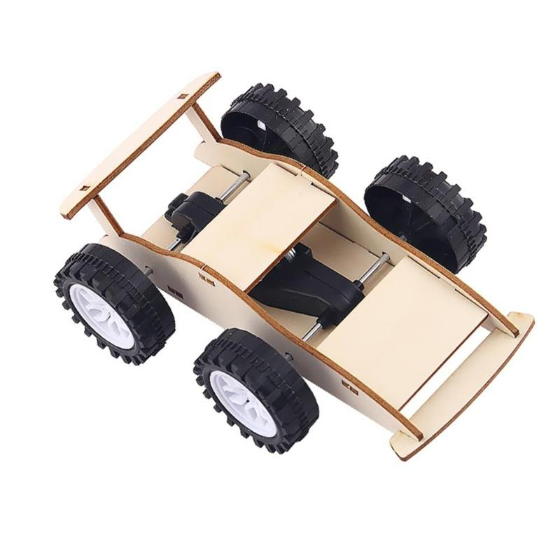 Kids Physics Inertial Car Wooden Toys Kit Smooth Appearance Superb Craftsmanship DIY Educational Science Assemble Craft