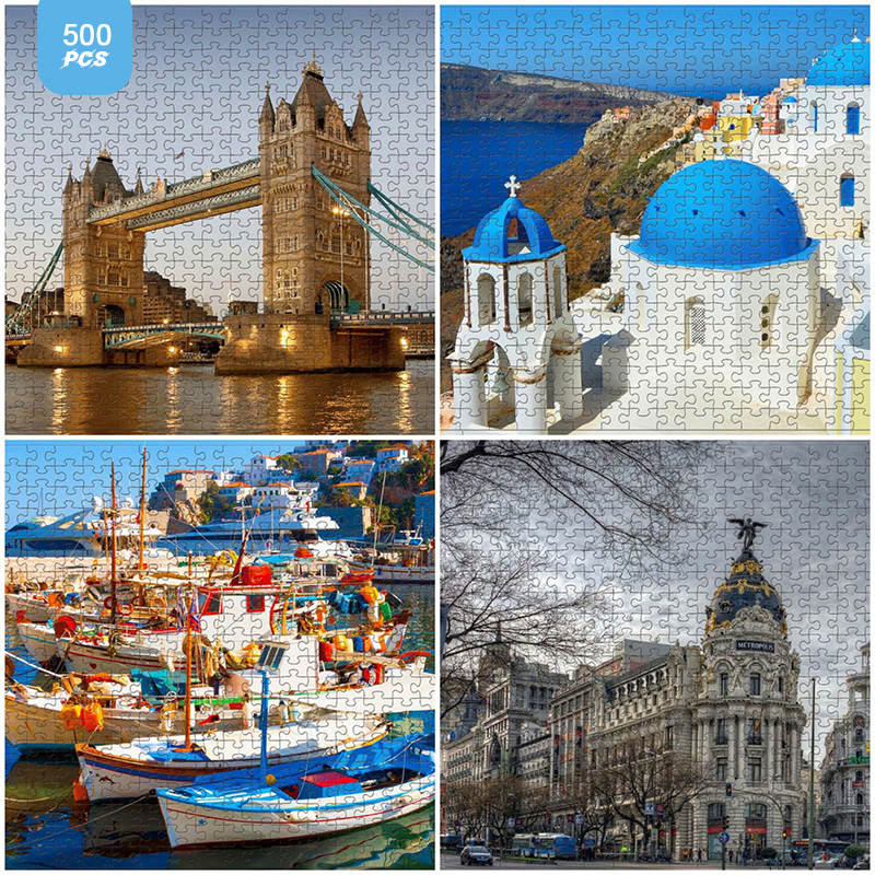 Paper High Difficulty Puzzle 500 Pieces Decompression Game Toy Adult Assembled Puzzle Child Birthday Gift Jigsaw Puzzles Scenery