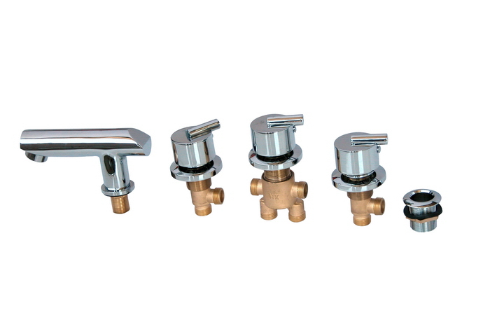 MTTUZK Cold And Hot Water Solid Brass  Mixing Valve Tap Bathtub  Faucet Mixer For Bathroom Jacuzzi Faucet 5PCS Set