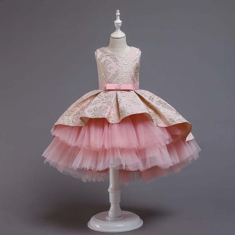 Flower Vintage Embroidery Baby Girls Dress Opening Ceremony Clothing Tutu Party Elegant Wear Girls Princess Dress Kids Vestidos