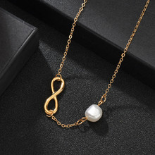 Bohemian Real Freshwater Layered Necklace For Women Girl Gold Color Endless Love Statement Choker Necklace Geometric Pendant(China)