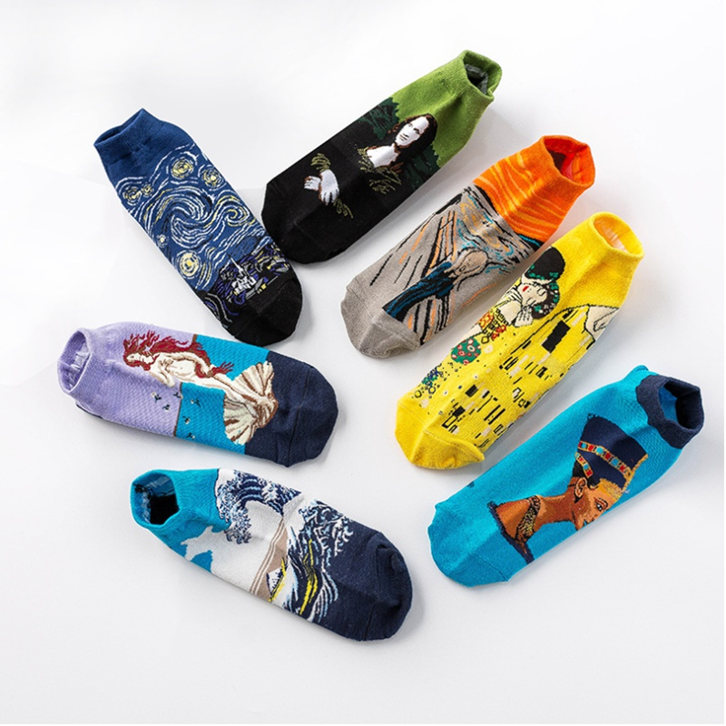 NEW <font><b>3D</b></font> <font><b>Retro</b></font> <font><b>Painting</b></font> <font><b>Art</b></font> Short <font><b>Socks</b></font> Slippers Summer <font><b>Unisex</b></font> <font><b>Women</b></font> <font><b>Men</b></font> <font><b>Funny</b></font> Novelty Starry Night Vintage Thin <font><b>Socks</b></font> HOT image