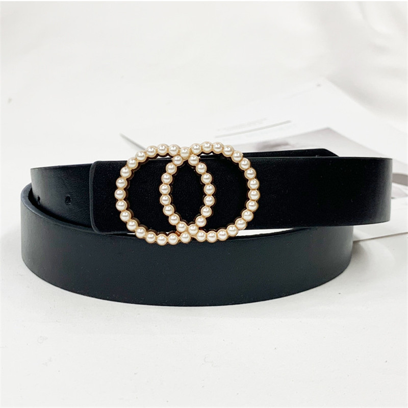 Luxury Leather Belt Women Waist Black Red Belts For Dresses Jeans Woman Pearl Studded Buckle Girls Ladies Fashion Decorative