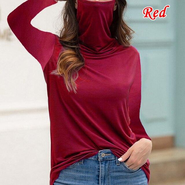 женская водолазка футболка свободного покроя с длинным рукавом фотография