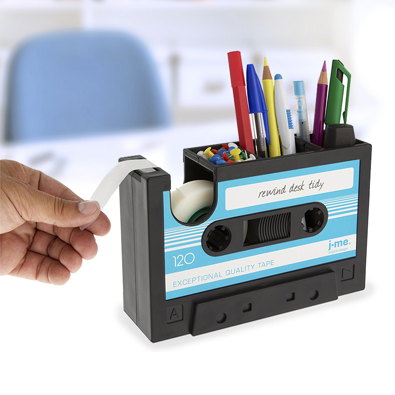 2 In 1 Multifunctional Pen Holder Creative Office Desk Stationery Organizer Retro Cassette Tape Dispenser Pen Holder Gift