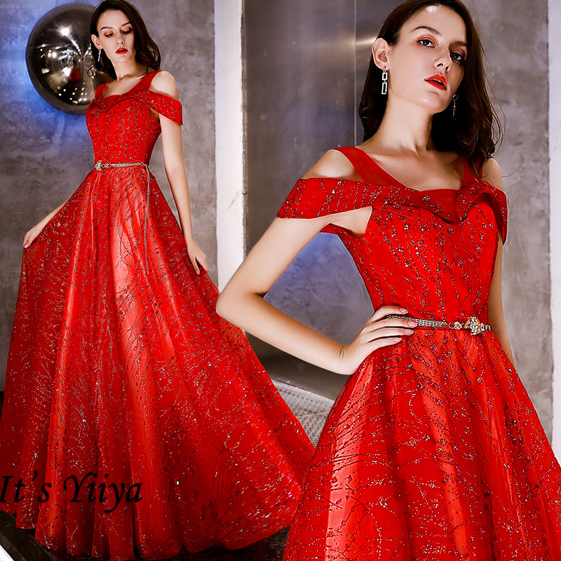 It's Yiiya Evening Dresses Red Shining Evening Dresses Plus Size Off Shoulder Formal Gowns For Women Long Robe De Soiree LF128