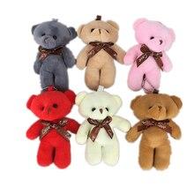 Случайный цвет, медведь 10 см, плюшевая игрушечная кукла, подарок животному