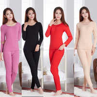 Long Johns Second Skin Winter Female Thermal Clothing Cotton Sexy Women Ladies Winter Warm Top Pant Shaping Thermal Underwear