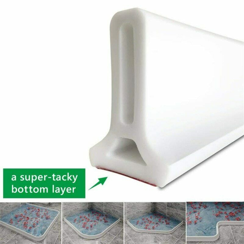 Self-Adhesive Bathroom Kitchen Water Stopper Dry and Wet Separation Silicone Water Barriers Floor Partition Strips UOTO