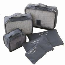 6 sztuk wodoodporne woreczki podróżne organizer na torby kostka do pakowania ubrań organizer bagażu etui do domu torby podróżne ze schowkiem tanie tanio Oxford