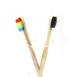 Mini Head Wood Bamboo Toothbrush Soft Bristle Travel Tooth Brush Wooden Rainbow Bamboo Toothbrush Oral Health Care Wholesale