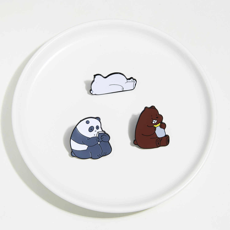 Lucu Tidur Beruang Kutub Makan Mentega Brown Bear Holding Buku Kartun Gambar Paduan Bros Enamel Lencana Pin untuk Anak-anak