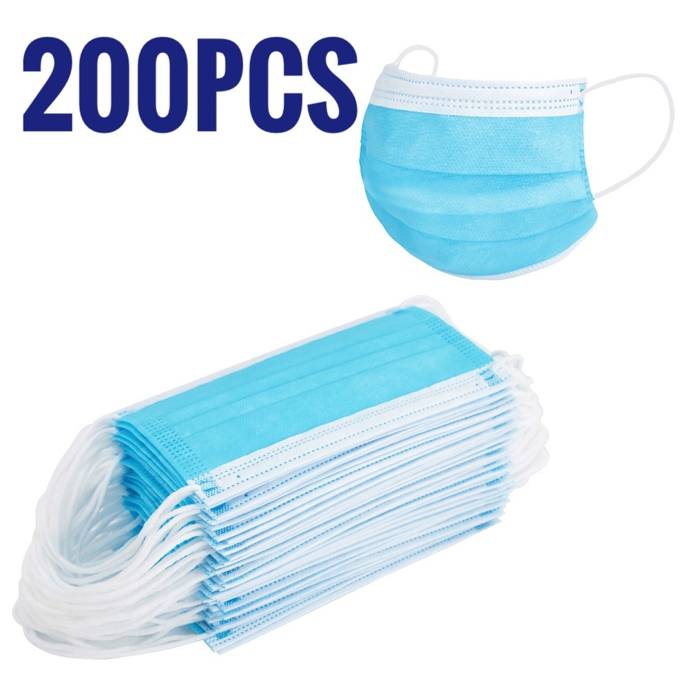 200 PCS Mask Set Disposable Earloop Face Mouth Masks 3 Layers Protection Anti-Dust Mask Safe Breathable Mouth Mask Mask