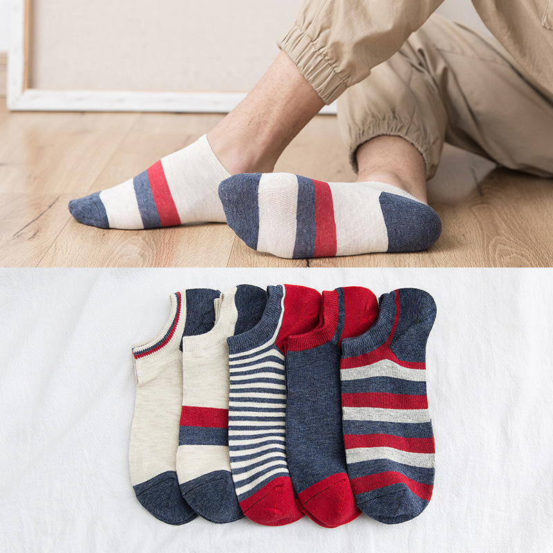 5 Pairs High Quality Business Men's Sock Spring Summer Casual Breathable Striped Patchwork Ankle Socks Gifts For Men Meias