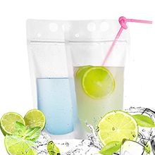 100PC straw + 100PC transparent beverage bag Hot Drink Cold Drink Bag Food Fresh Keeping Transparent Zipper Bag And Straw#20(China)
