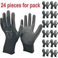 24 шт/12 пар защитные рабочие перчатки черные ПУ нейлоновые хлопковые перчатки промышленные защитные рабочие перчатки нм безопасный бренд по...