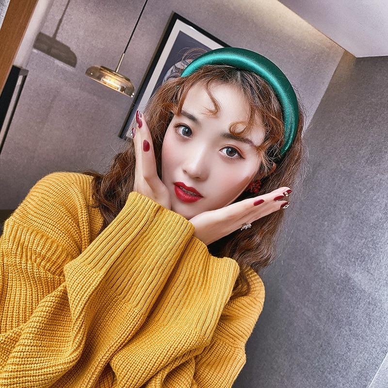 lady headband Korean retro multi-color wide hairband fashion simple hair ornament woman