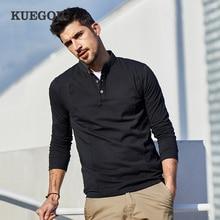 KUEGOU 2020 Spring Cotton Button Plain White T Shirt Men Tshirt Brand T shirt Long Sleeve Tee Shirt Male Clothes Plus Size 1306