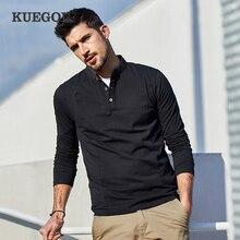 Мужская хлопковая футболка на пуговицах KUEGOU, белая хлопковая футболка с длинными рукавами, модель 2020, весна 1306