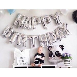 Image 3 - Lincaier 16 אינץ יום הולדת שמח רדיד בלוני תינוק ילד ילדה ראשון יום הולדת 1st אחד זר קישוט מסיבת ילדים למבוגרים