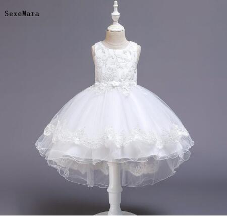 New Cheap Dresses For Girls 1st Year Birthday Lace Applique Wedding Party Dress Infant Toddler 1-14yrs Kids Cloth