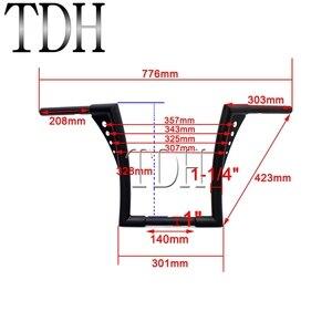 "Image 5 - Manillar elevado tipo manillar personalizado para motocicleta, 12 "", Rise 1 1/4"", color negro, APE Hanger manillar, barras anchas, manillar para Harley Sportster Touring Dyna"