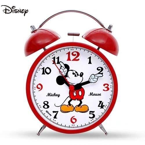 Дисней Милый Красный Микки Микки Маус Часы Мультфильм Колокольчик Металл Студент Прикроватная тумбочка Бесшумный Будильник Часы
