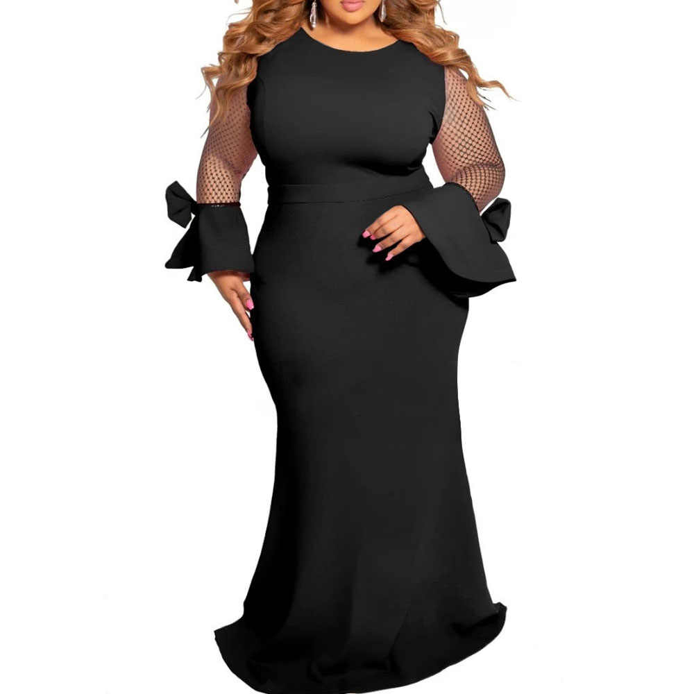 Vestidos de talla grande para mujeres 4xl 5xl 6xl malla transparente manga larga elegante africano damas boda noche fiesta Maxi vestido