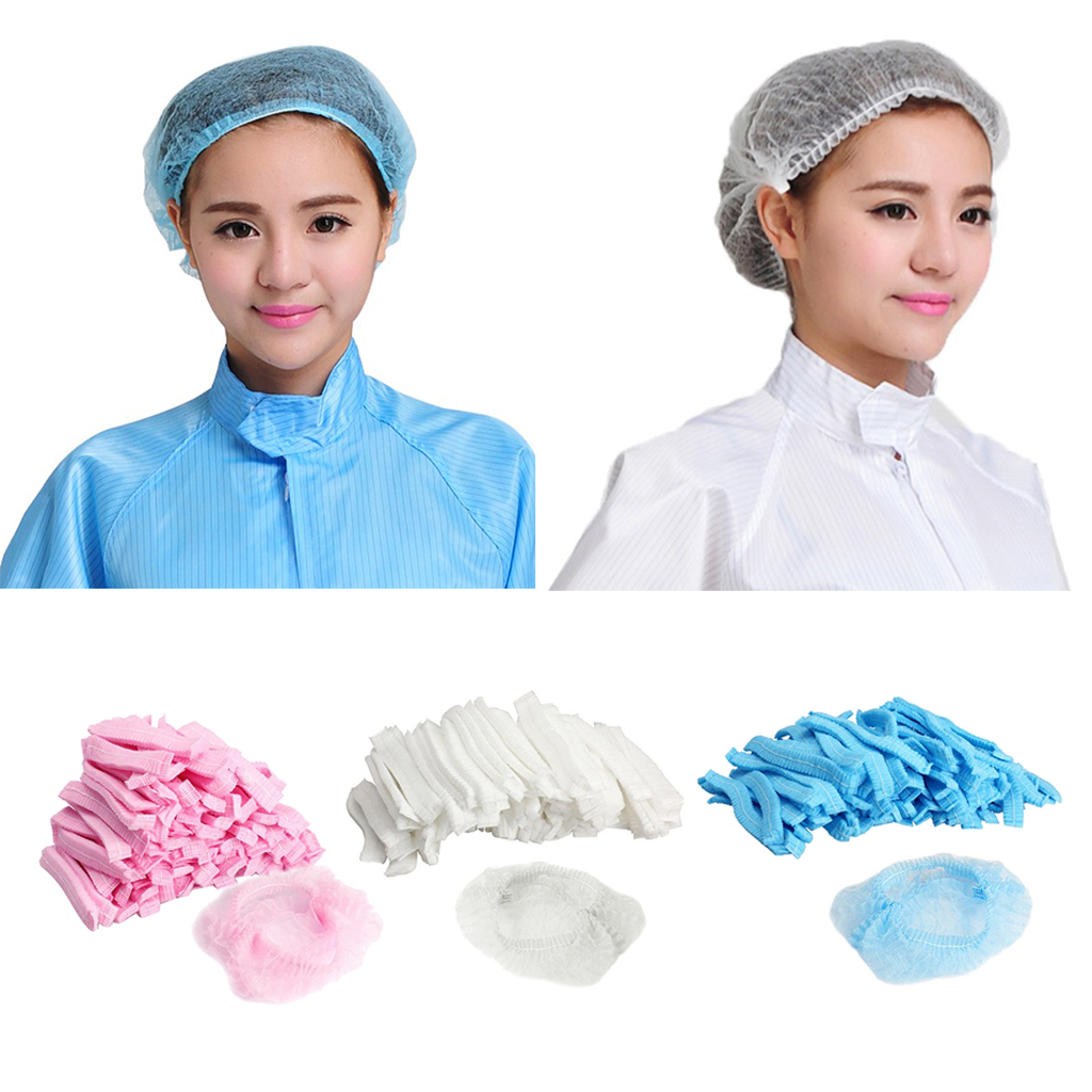 100 Pcs Disposable Hair Head Covers Net Bouffant Cap Non Woven Disposable Shower Caps Anti Dust Hat Spa Salon Beauty Accessories