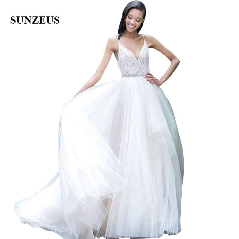 A-ligne Spaghetti bretelles v-cou dentelle mariée robes de mariée longue Tulle robes de mariée d'été robe de casamento