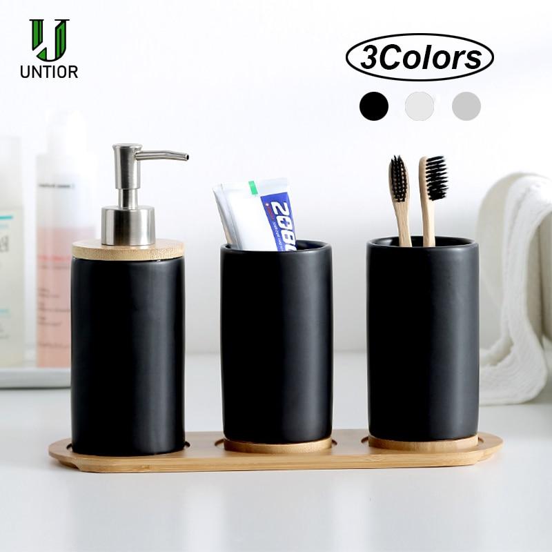 UNTIOR 3PCS Keramik Badezimmer Zubehör Set Mode Seife Dispenser Zahnbürste Halter Tumbler Keramik Haushalt Bad Produkt