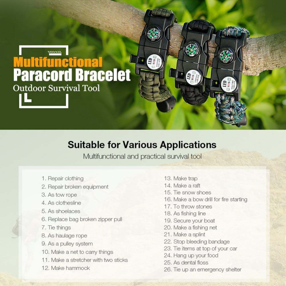 Outdoor Survival Wristband Paracord Bracelet Waterproof SOS LED Light Emergency Knife Whistle Compass multi tools Camping Equipment EDC (2)