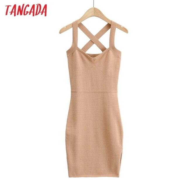Tangada 2021 fashion women solid elegant summer knit dress strethy strap sleeveless ladies short dress 4P46 2