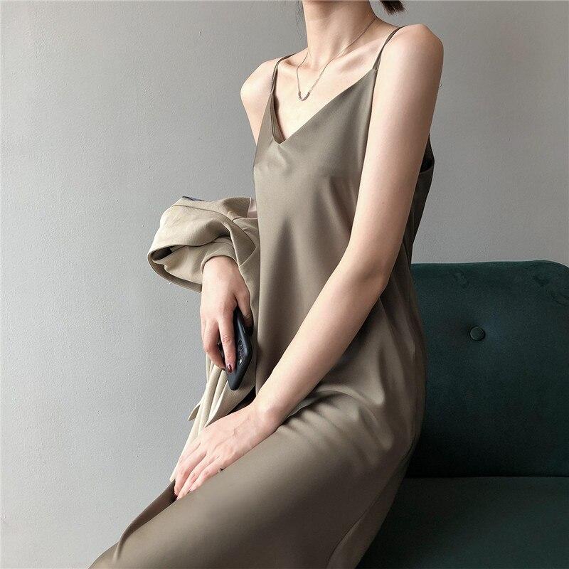New Arrival Women V-Neck Sleeveless Women Dress Y5702 Vintage Satin Summer Long Dress Boho Elegant Women Casual Dress Vestidos (4)