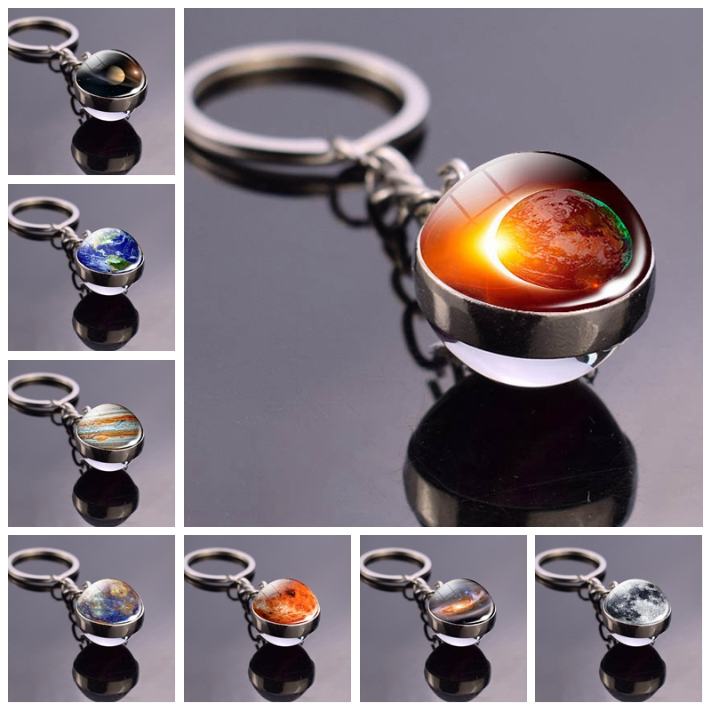 Galaxy Keychain Moon Nebula Key Rings Solar System Planet Earth Sun Mars Double Sided Glass Ball Keychain Best Gift For Friends