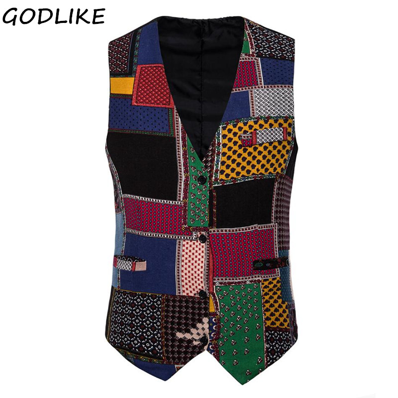 Pattern Dress Vests For Men Slim Fit Casual Printed Sleeveless Jacket Coat Mens Formal Waistcoats Dress Party Vest 5XL 4XL