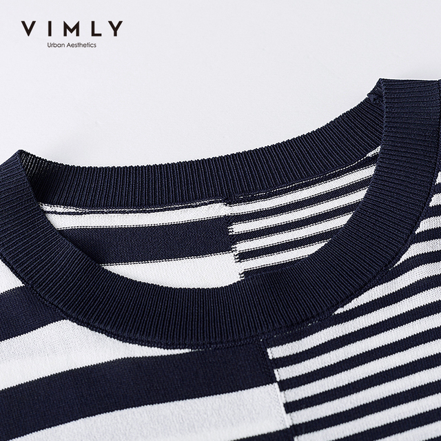 VIMLY Summer Knitted Tops For Women Fashion Round Neck Short Sleeve Pullover Casual Stripe Sweater Women Female Clothes F7397 4
