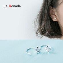 La Monada Hoop Earrings For Women Silver 925 Minimalist Flower Fine Jewelry Sterling