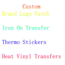 Custom Iron On Transfer Brand LOGO Patches For Clothes Stripe Heat Vinyl Transfer Thermo Stickers Patches On Clothes Badge Decor(China)