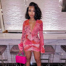Pink Bandana Mesh Bodyocn Party Dress Club Outfits for Women Mesh Flared Long Sleeve Deep V Neck Draw String Mini Dress