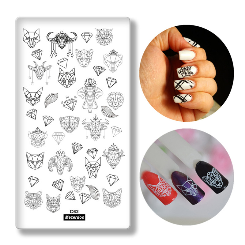 Creative Geometry Animal Head Nail Stamping Template Negative Space Puzzle Tiger Cat Pig Stamp Nail Manicure Nail Stamping Plate