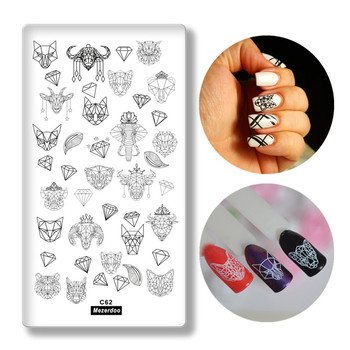 Creative Geometry Animal Head Nail Stamping Template Negative Space Puzzle Tiger Cat Pig Stamp Nail Manicure Nail Stamping Plate geometry flower nail stamping template negative space puzzle figure stamp nail manicure nail stamping plate