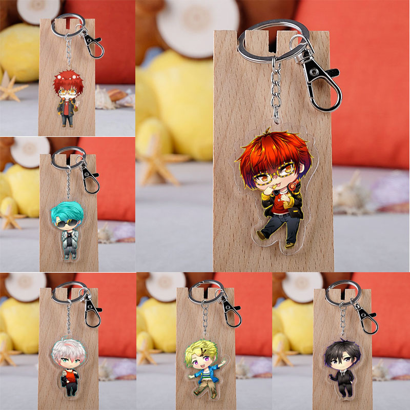 Anime Mystic Messenger Keychain Cartoon Figure Yoosung Jumin Unknown Zen Acrylic Pendant Key Ring