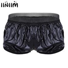 Underwear Briefs Faux-Leather Shorts Trunk Wet-Look Mens Fashion Iiniim for Lightweight